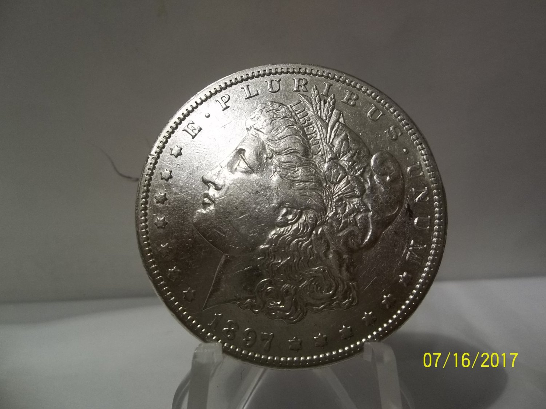 1897-S #1 AU+/UNC  90% Silver Morgan Dollar.