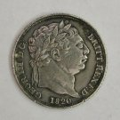 SALE!! GREAT BRITAIN 1820 .925 STERLING SILVER SIXPENCE 2 OVER 2