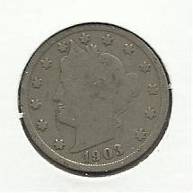 "1903 #6 Liberty ""V"" Nickel."