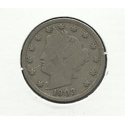 "1903 #7 Liberty ""V"" Nickel."
