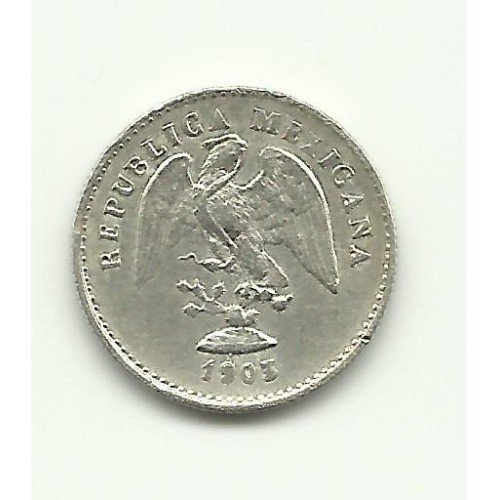 1903-Mo M #1 Silver 5 Centavos from Mexico