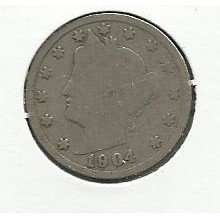 "1904 #4 Liberty ""V"" Nickel,"