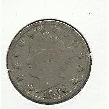 "1904 #6 Liberty ""V"" Nickel."
