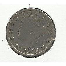 "1905 #6 Liberty ""V"" Nickel."