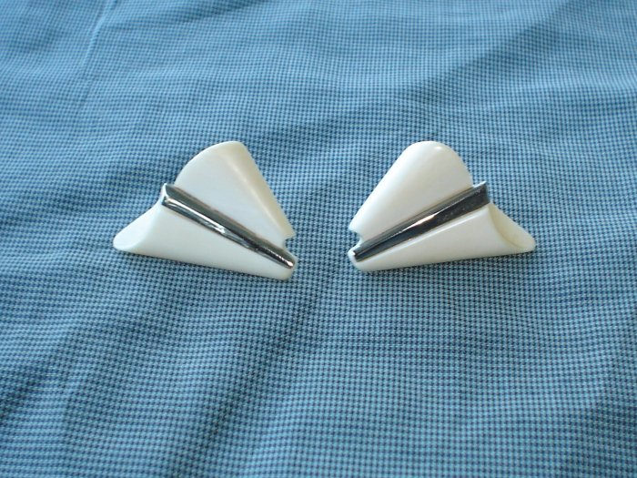 Pre-Ban Ivory and silver vintage earrings.