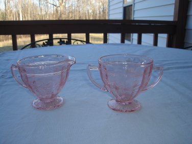 Jeanette Glass Sunflower pink sugar and creamer