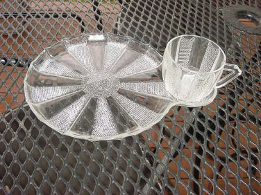 Jeannette Glass Dewdrop cup and snack plate