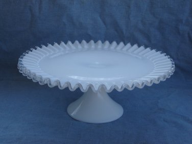 Fenton Silvercrest milk glass cake stand salver