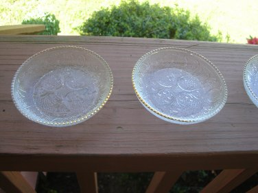 4 Harp Coasters by Jeanette Glass Company gold/trim