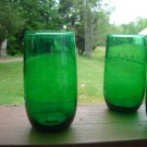 "Anchor Hocking Forrest Green Charm 3 3/8"" juice tumbler"
