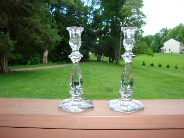 "Heisey 9"" pair of Old Williamsburg Crystal Candlesticks"