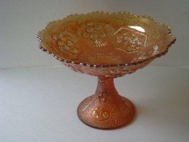 Fenton Mikado Carnival Glass Large Compote Marigold Cherry Pattern