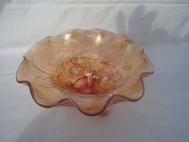 Dugan Marigold Cherry footed bowl Carnival Glass