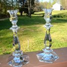 "Val St. Lambert Crystal Candlesticks Lafayette 9 1/2"""