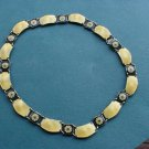 Stunning David Andersen Gulloche yellow & Black Enameled Sterling Silver Necklace