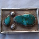 Vintage American Indian silver and turquoise Belt buckle