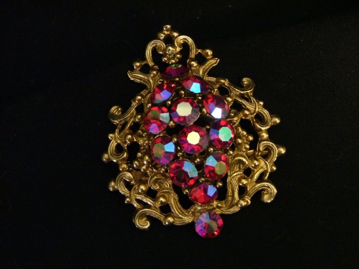 Aurora Borealis Brooch, Pink & Blue, Open Work Filigree c.1950