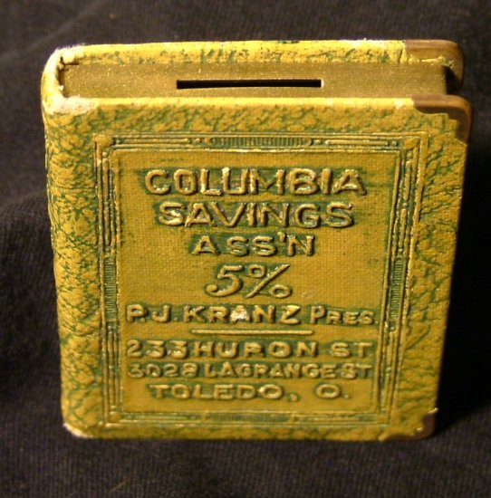 Colombia Savings Association of Ohio Book Shaped Coin Bank Giveaway c.1900