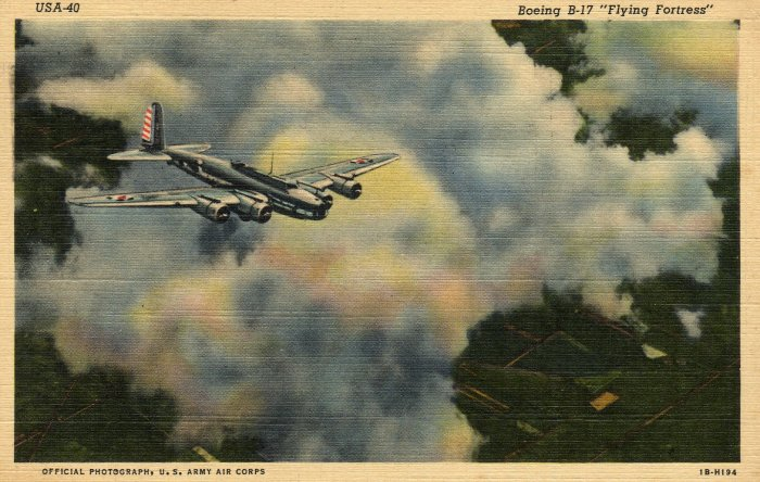 Patriotic Postcard, Boeing B-17, Flying Fortress in Air, The U.S. Army Series c.1941