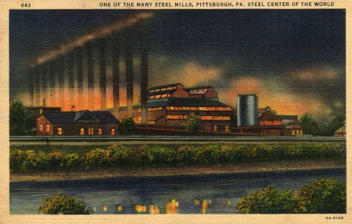 Pittsburgh Pennsylvania Postcard, Steel Center of The World, Full Color c.1936