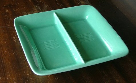 Stangl Greenware Divided Relish Dish c.1940
