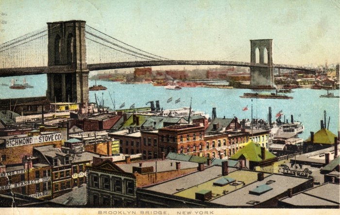 New York Postcard, Brooklyn Bridge and Buildings, Full Color c.1913