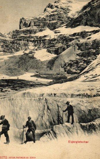 Switzerland Postcard of Gentlemen Hikers at Eigergletscher c.1907
