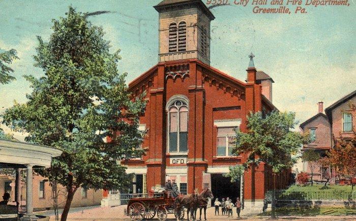 Greenville Pennsylvania Postcard, City Hall, Fire Department & Horse Drawn Fire Truck c.1913