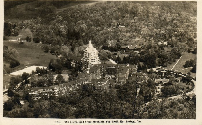 Hot Springs Virginia Postcard, The Homestead from Mountain Top Trail c.1910