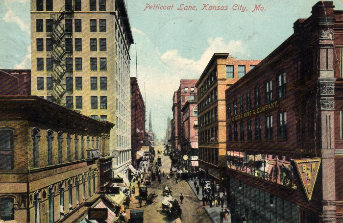 Kansas City Missouri Postcard View Down Petticoat Lane