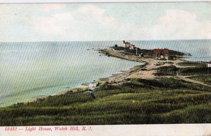 Rhode Island Postcard, Light House at Watch Hill, Full Color c.1908