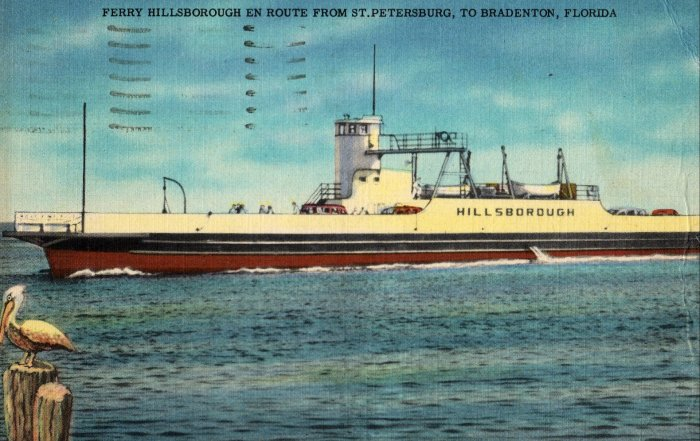 Florida Landscape Postcard, Hillsbourough Car Ferry, St. Petersburg to Bradenton c.1950
