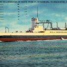 Florida Landscape Postcard, Hillsbourough Car Ferry, St. Petersburg to Bradenton c.1950