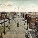 Fargo North Dakota Postcard, View Down Broadway Ave c.1910