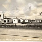 Manistique Michigan Postcard, Tourist Cabins & Mobil Station, Black & White Real Photo c.1941