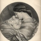 The Young Mother, C.W. Cope Painting, Art Journal Print, Black and White c.1877