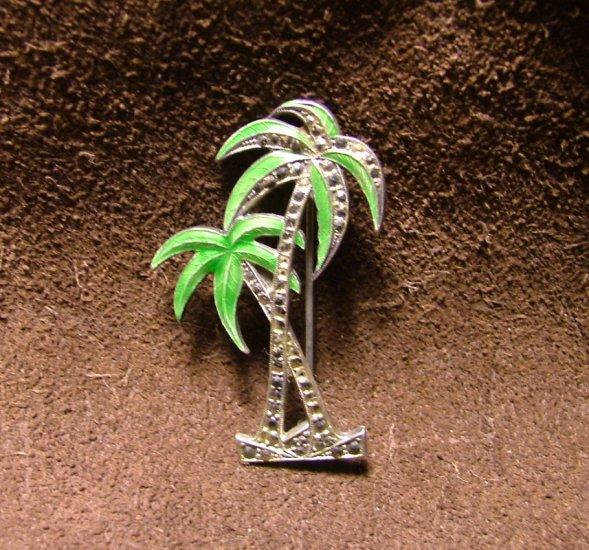Palm Tree Pin, Sterling Silver, Enamel & Hematite c.1927