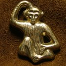 Sterling Animal Brooch, Monkey Patting Head & Rubbing Stomach c.1979