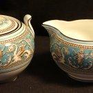 Wedgwood Fine Bone China Creamer & Sugar Bowl with Lid, Florentine Pattern c.1931