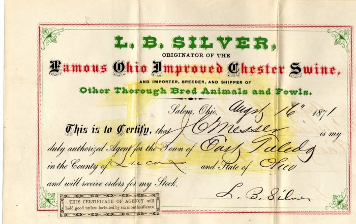 L.B. Silver & His Ohio Improved Chester Swine, Salem Ohio, Bill of Sale c.1871