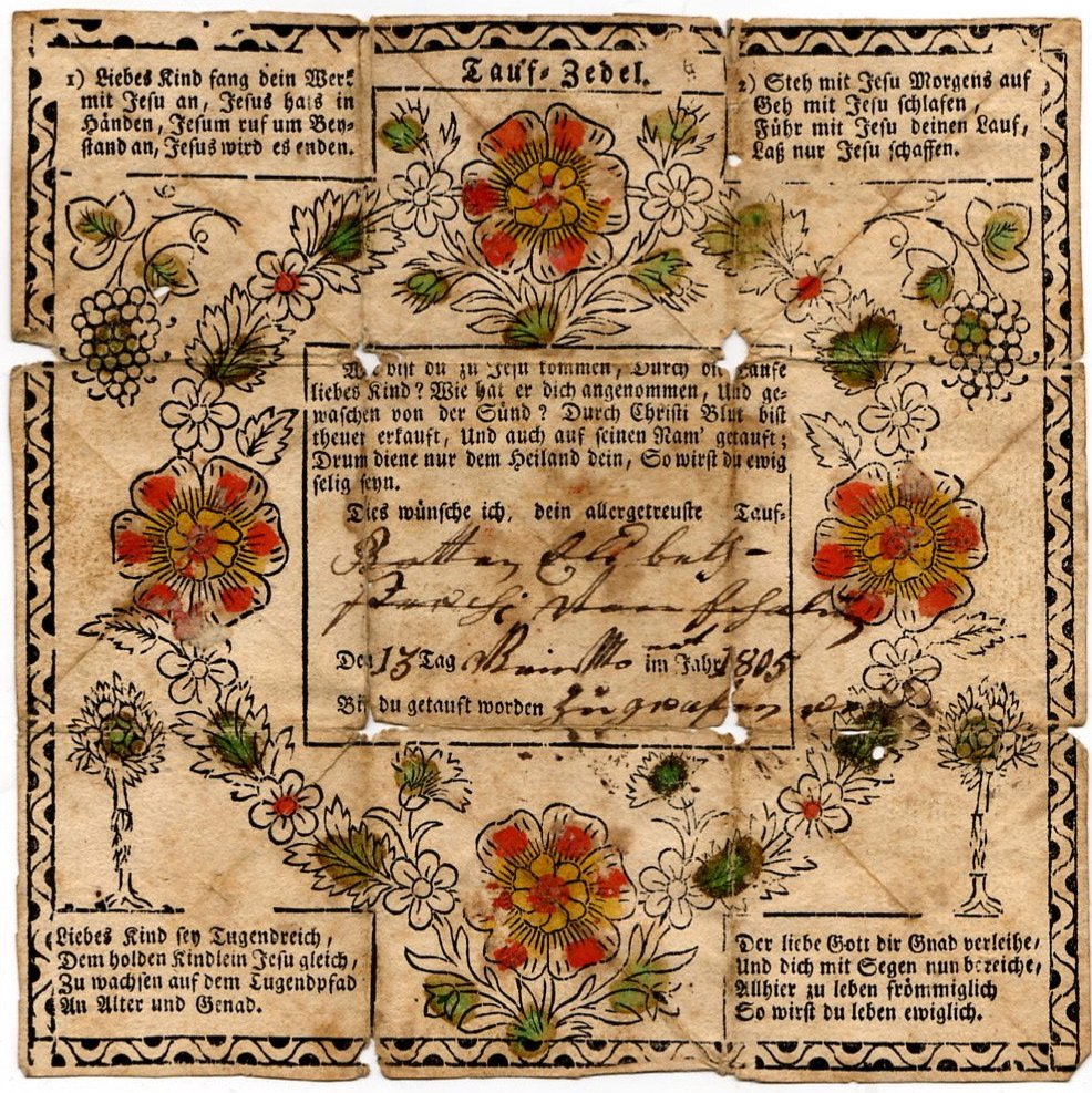 Traditional Taufschein Fraktur, Hand Colored Grapes and Flowers c.1805