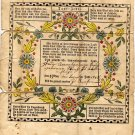 Traditional Taufschein Fraktur, Hand Colored Wreath of Flower c.1845