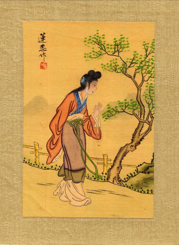 Japanese Print on Silk, Young Woman Walking c.1930