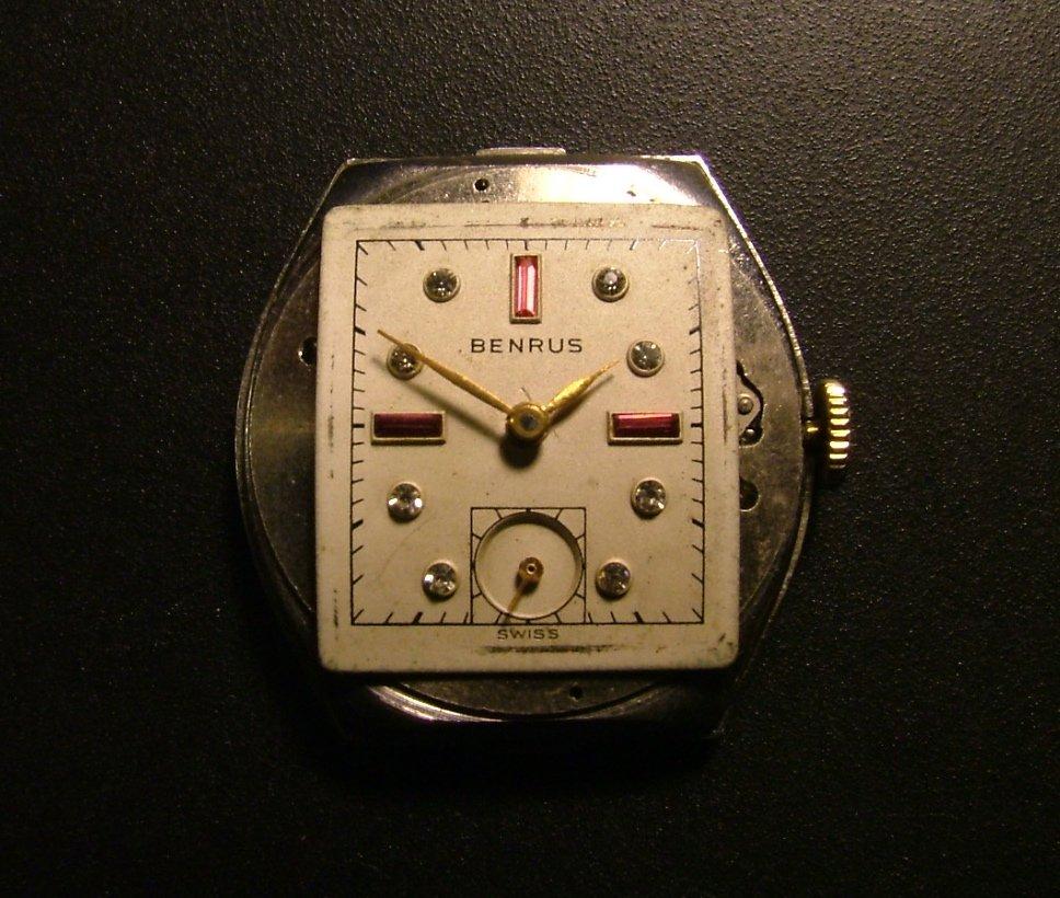 Benrus Men's Watch, Rhinestone Dial & Subsidiary Seconds c.1945
