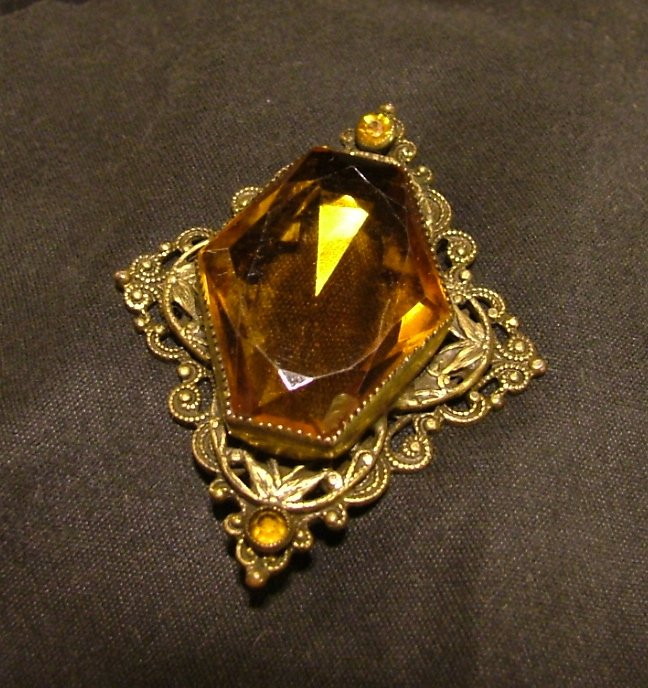 Citrine Brooch, Gold Tone Open Back Setting c.1907