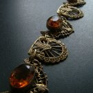 Filigree & Citrine Necklace, Large Stones, Delicate Gold Chain c.1910