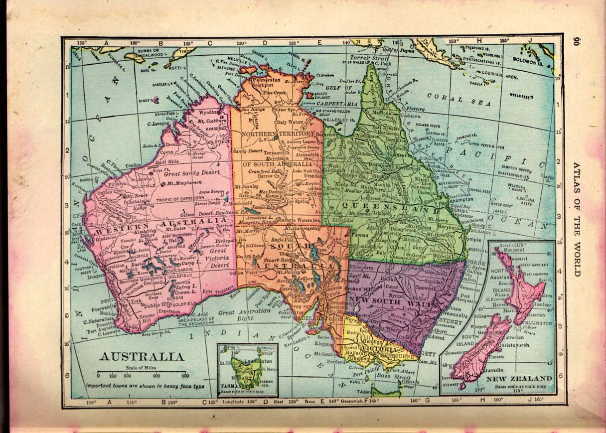 map of australia cs hammond co atlas full color c1910