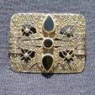Art Deco Sterling Silver Pierced Brooch, Onyx & Hematite c.1913