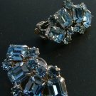 Weiss Rhinestones Earrings in Light Blue c.1949