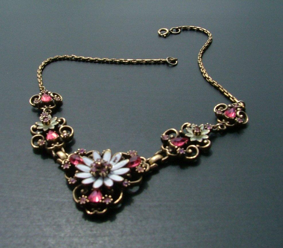 Coro Brooch, Earrings & Necklace Set, Rhinestones, Spinning Daisy c.1950